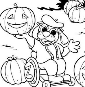 halloween coloring page dog - Clip Art Library | 300x294